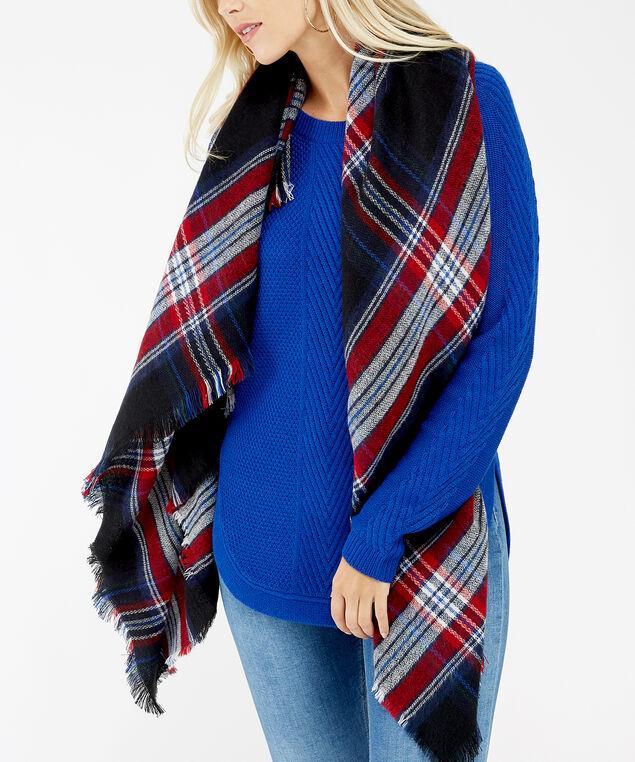 check blanket scarf, Black Print, hi-res