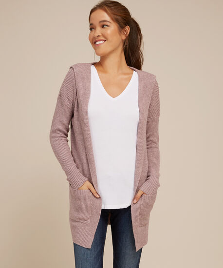 hooded cardigan with pockets - wb, MAUVE, hi-res