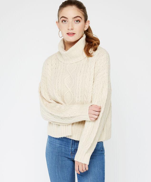 cable knit turtleneck, White, hi-res