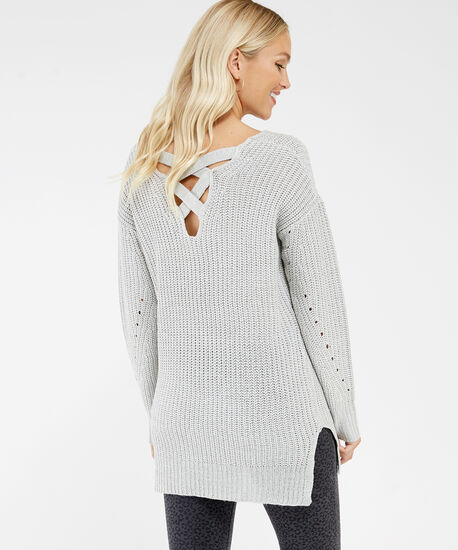 pointelle stitch sweater - wb, Silver, hi-res