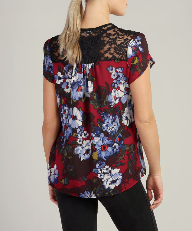 lace yoke woven tee, RED POPPY, hi-res
