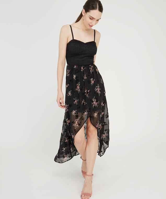 lace bodice chiffon skirt dress, BLACK FLORAL, hi-res