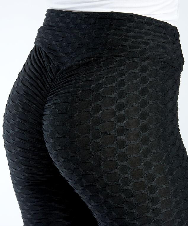 textured legging, Black