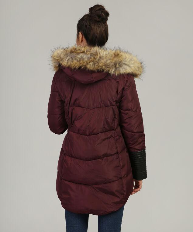 parka with faux leather sleeve detail - wb, BORDEAUX, hi-res