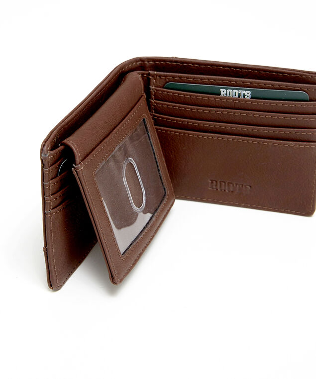 roots slim fold vegan leather wallet, Brown, hi-res