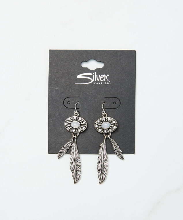 feather detail earrings, Silver, hi-res