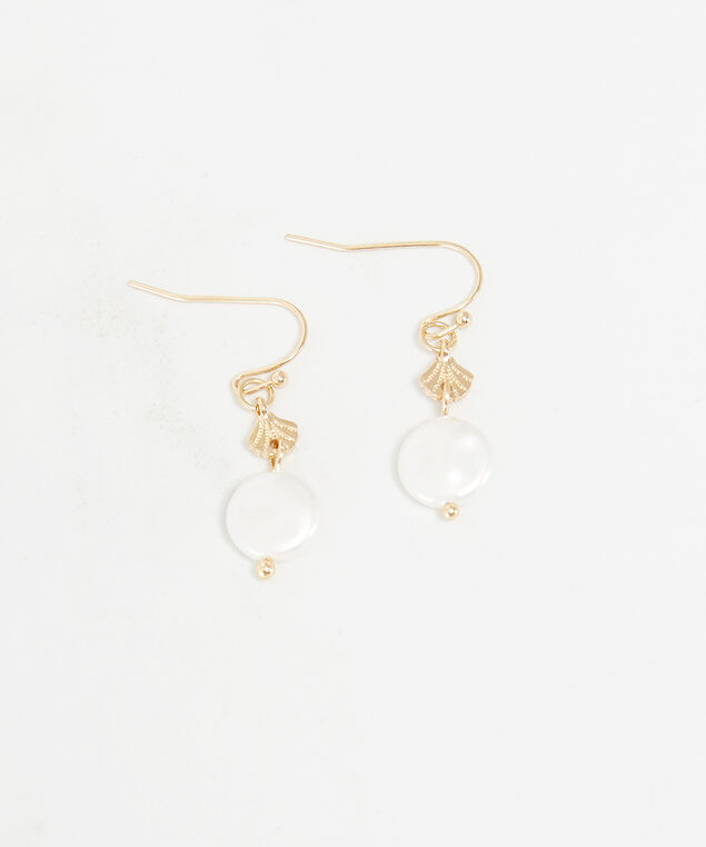 shell and pearl earrings, Gold, hi-res