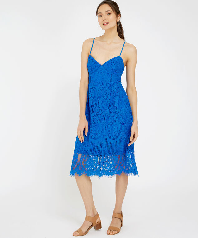 lace-up dress, COBALT, hi-res