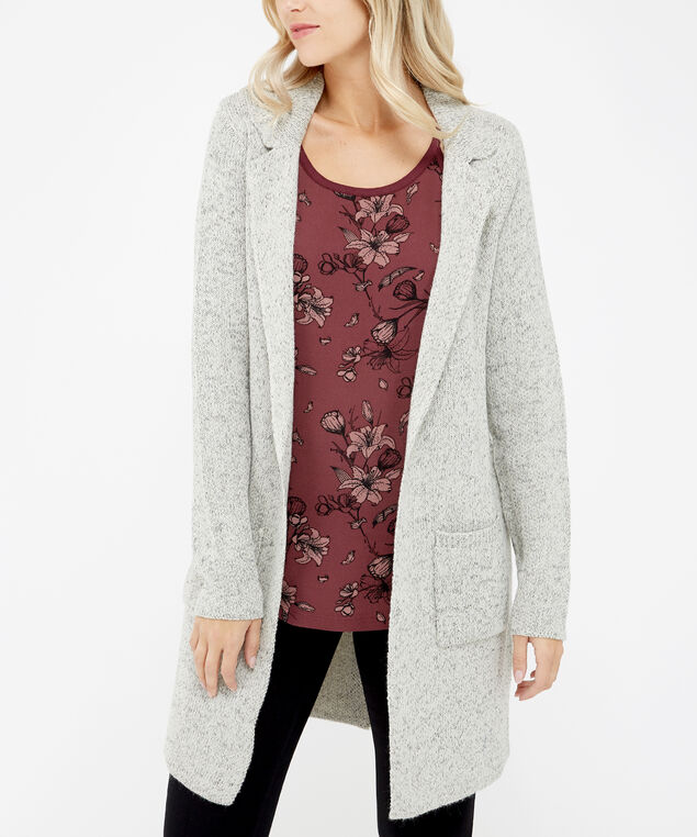 long cardigan with front pockets - wb, Grey, hi-res