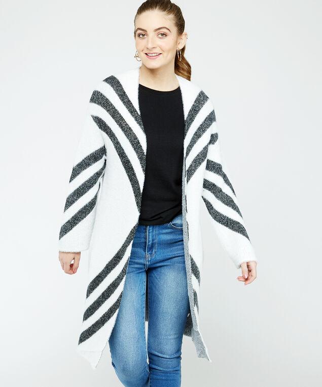 chevron cardigan - wb, White/Black, hi-res