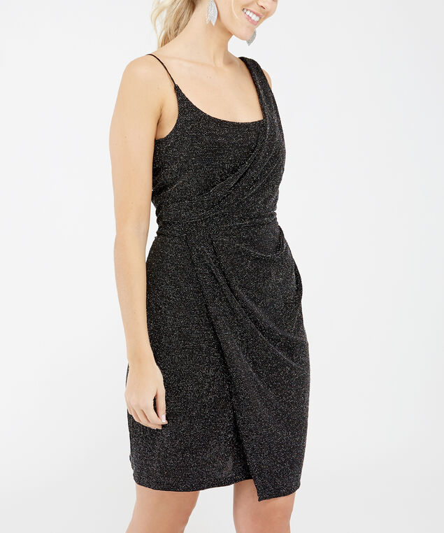 drape front dress - wb, Metallic, hi-res
