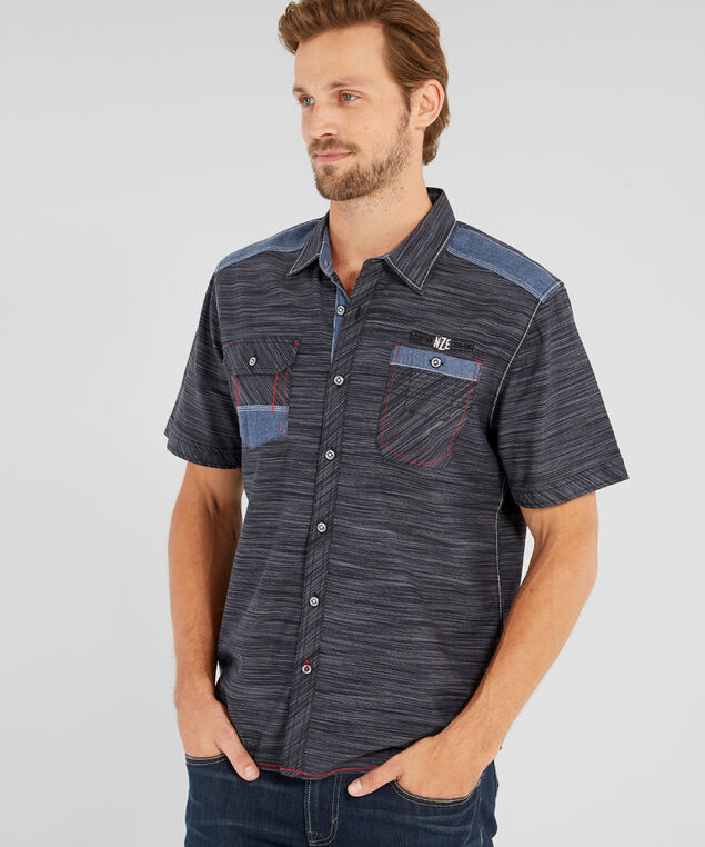 vintage inspired button-down shirt - wb, GREY, hi-res