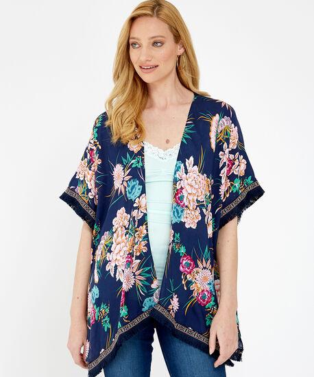 floral fringe kimono, NAVY COMBO, hi-res