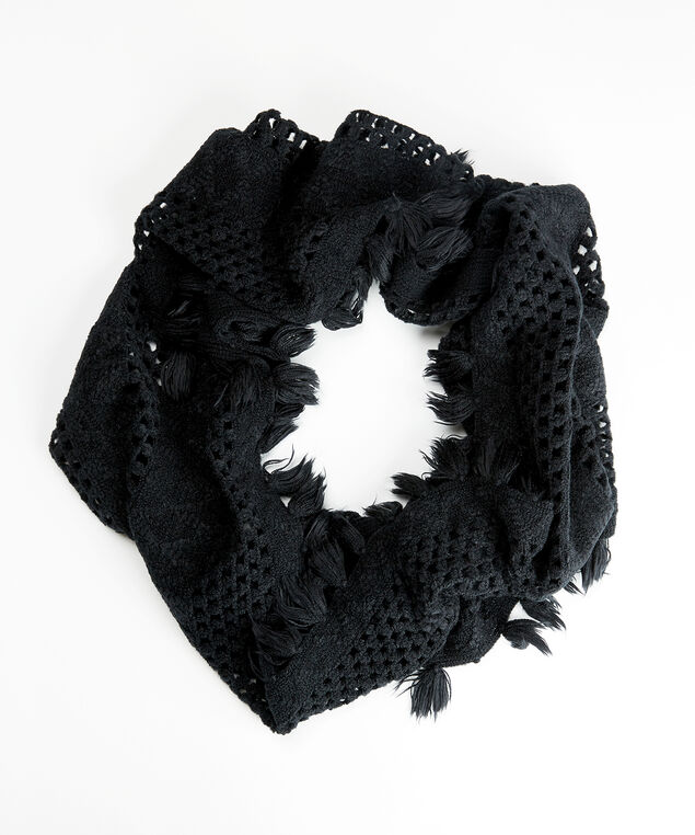 knitted eternity scarf, Black, hi-res