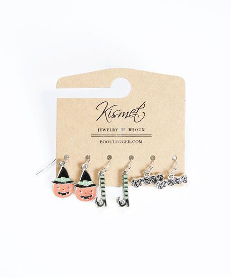 halloween trio earrings, Silver, hi-res