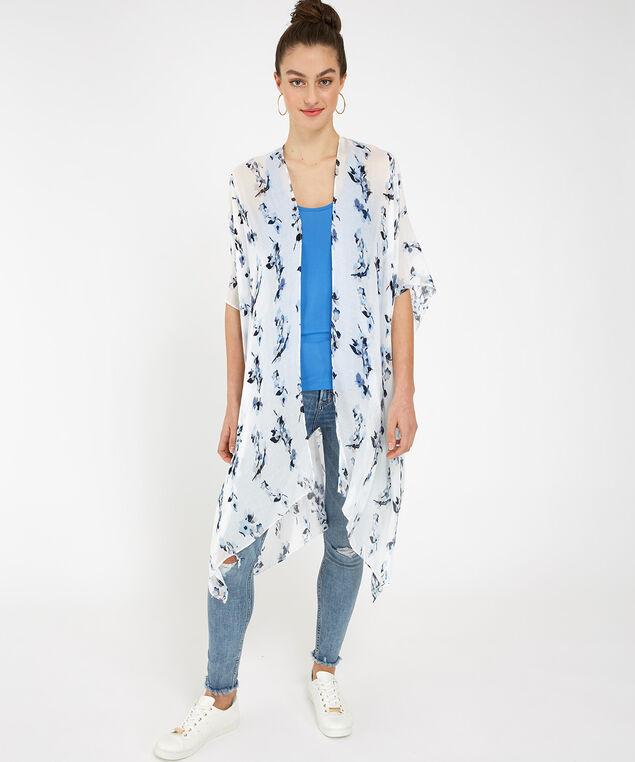 small floral print kimono, White, hi-res