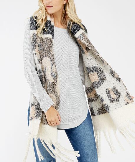 leopard blanket scarf, Neutral, hi-res