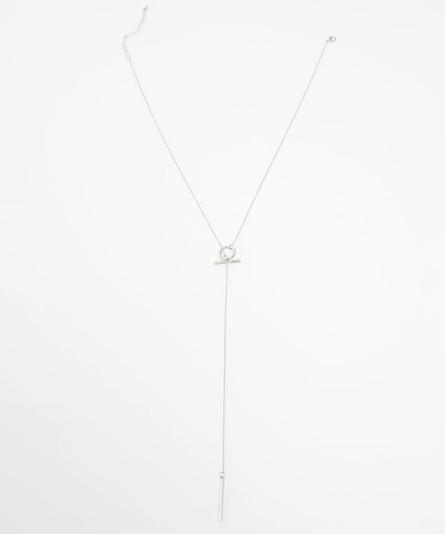 lariat circle and bar necklace, SILVER, hi-res