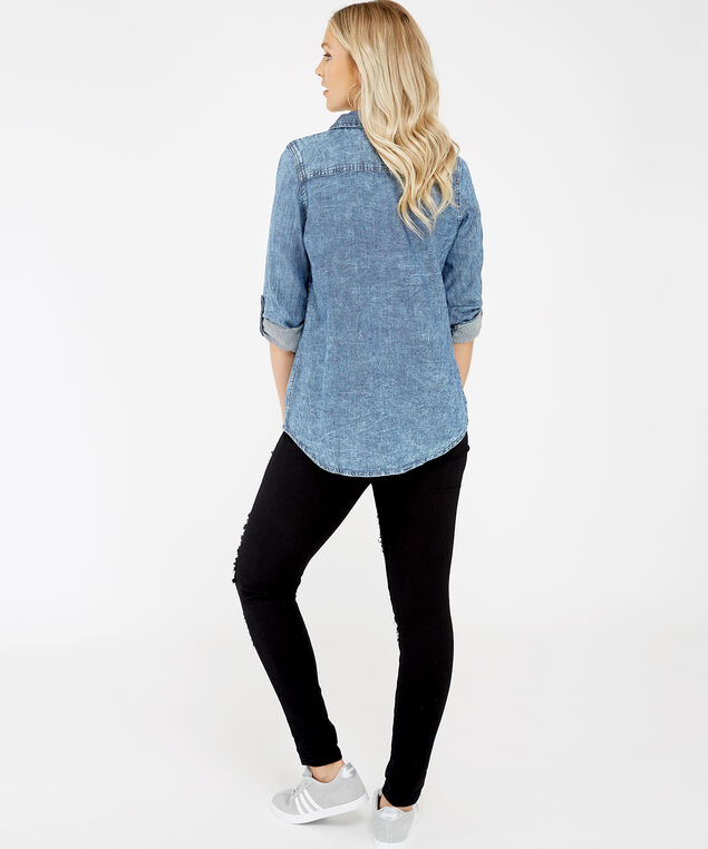chambray shirt - wb, Denim, hi-res