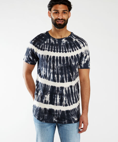 crew neck tie dye tee, Black, hi-res