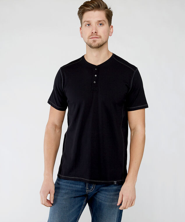 short sleeve henley tee, Black