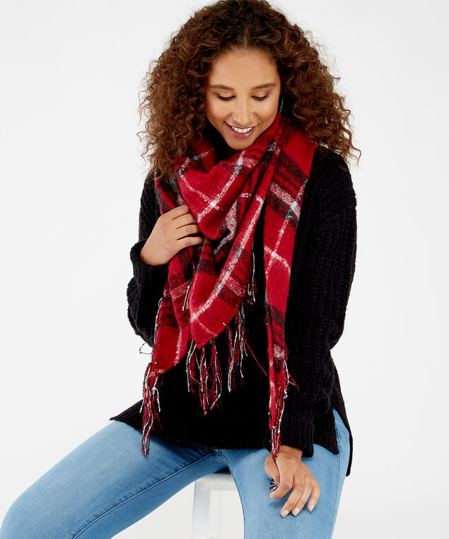 plaid blanket scarf      , RED PLAID, hi-res