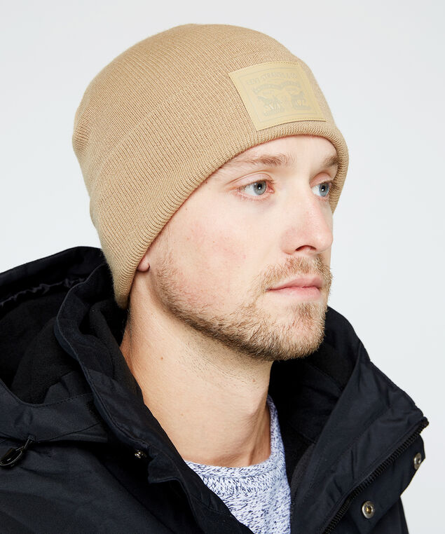 two horse pull patch beanie, Sand