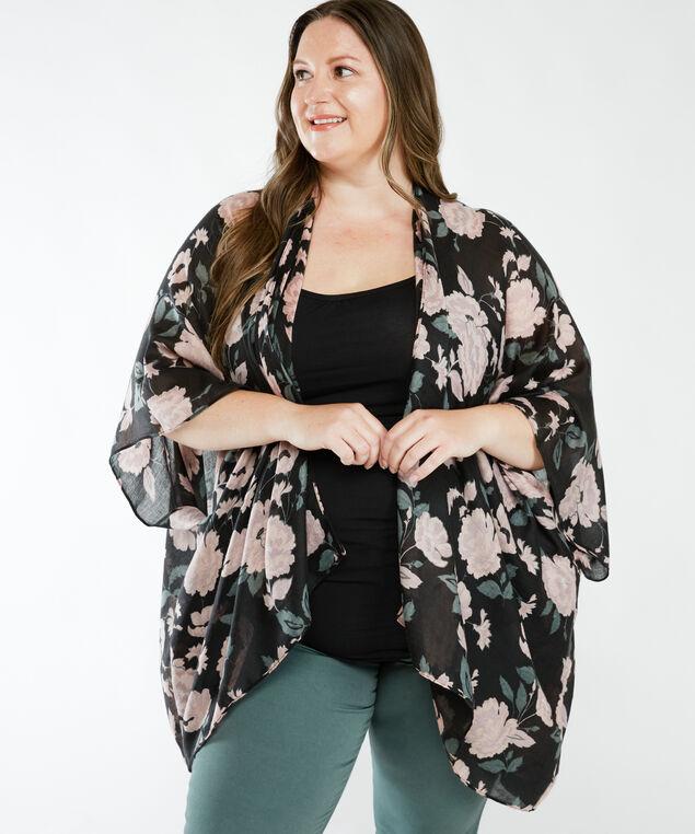 floral print kimono, Rose