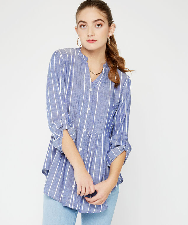 long sleeve button up tunic - wb, Multi, hi-res