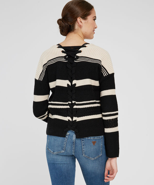 stripe pullover with lace up back - wb, BLACK COMBO, hi-res