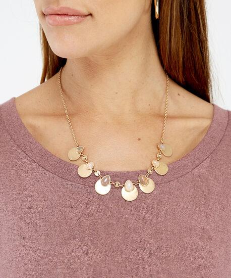short stone charm necklace, GOLD, hi-res