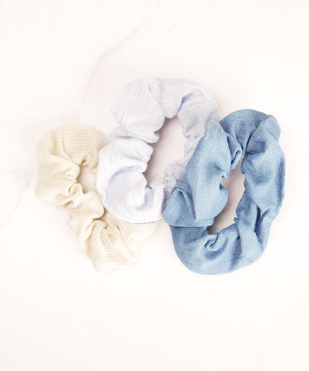 3 pack hair scrunchies, Blue/Green Pt