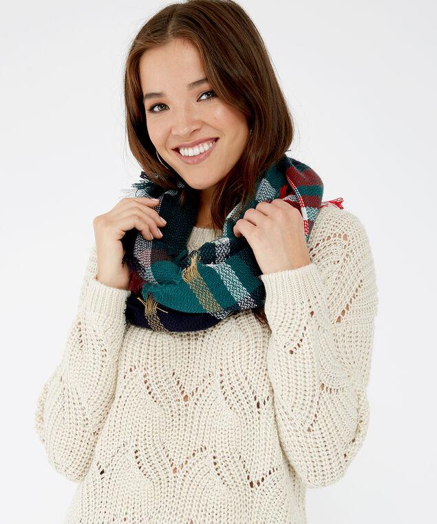 plaid infinity scarf, DARK GREEN, hi-res