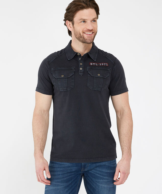split rail polo tee, BLACK, hi-res