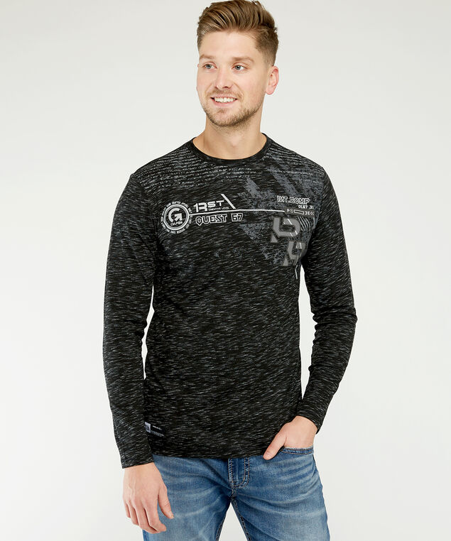 long sleeve graphic tee, Black