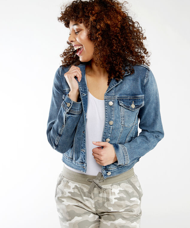 fitted jean jacket, Medium Wash