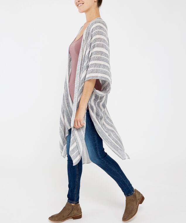 geometric print kimono, GREY PATTERN, hi-res