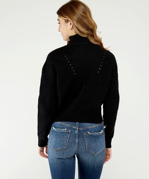 cropped pointelle sweater - wb, Black