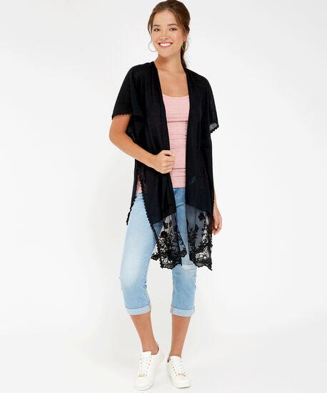 lace panel kimono, BLACK, hi-res