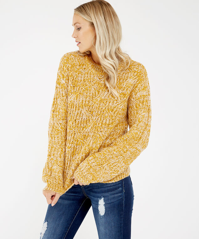 cable knit pullover - wb, Yellow, hi-res