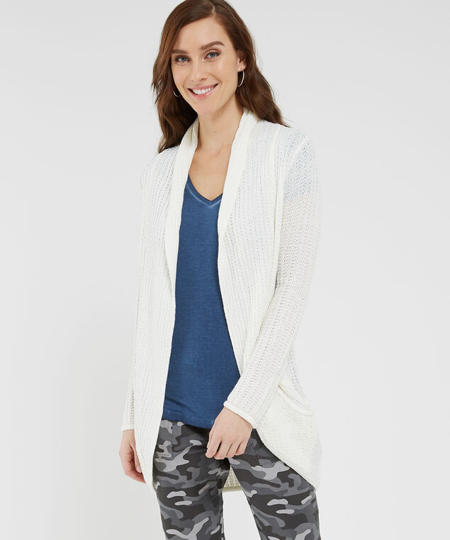cocoon cardigan with back pointelle, IVORY, hi-res