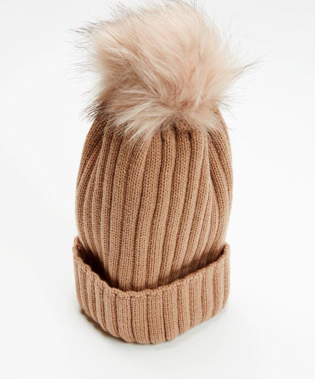 rib knit toque with faux fur pom, Tuscany, hi-res