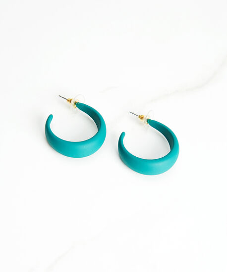 matte finish hoop earrings, Green, hi-res
