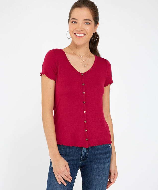 button front tee - wb, WINE, hi-res