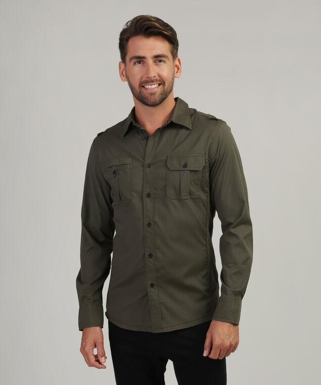 stripe shirt with pocket, OLIVE, hi-res