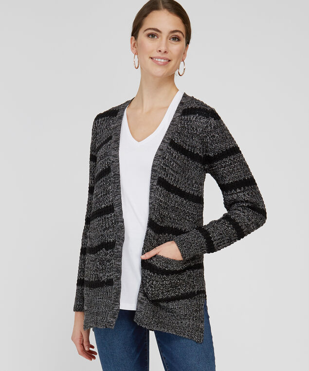 striped cardigan with lace up back - wb, DARK GREY, hi-res