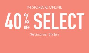 Select Seasonal Catagories 40% off