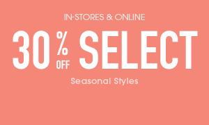 Select Seasonal Catagories 30% off