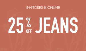 25% off regular priced jeans - online only