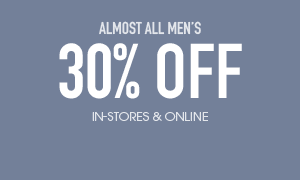 30% off regular priced men's excluding jeans  - in-stores and online